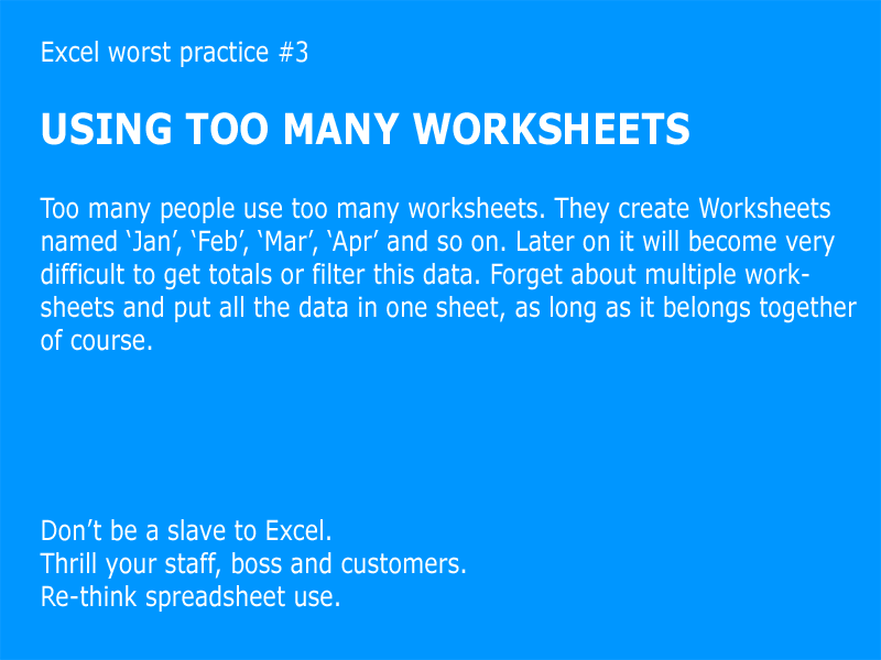 Excel worst practice #3 – too many worksheets